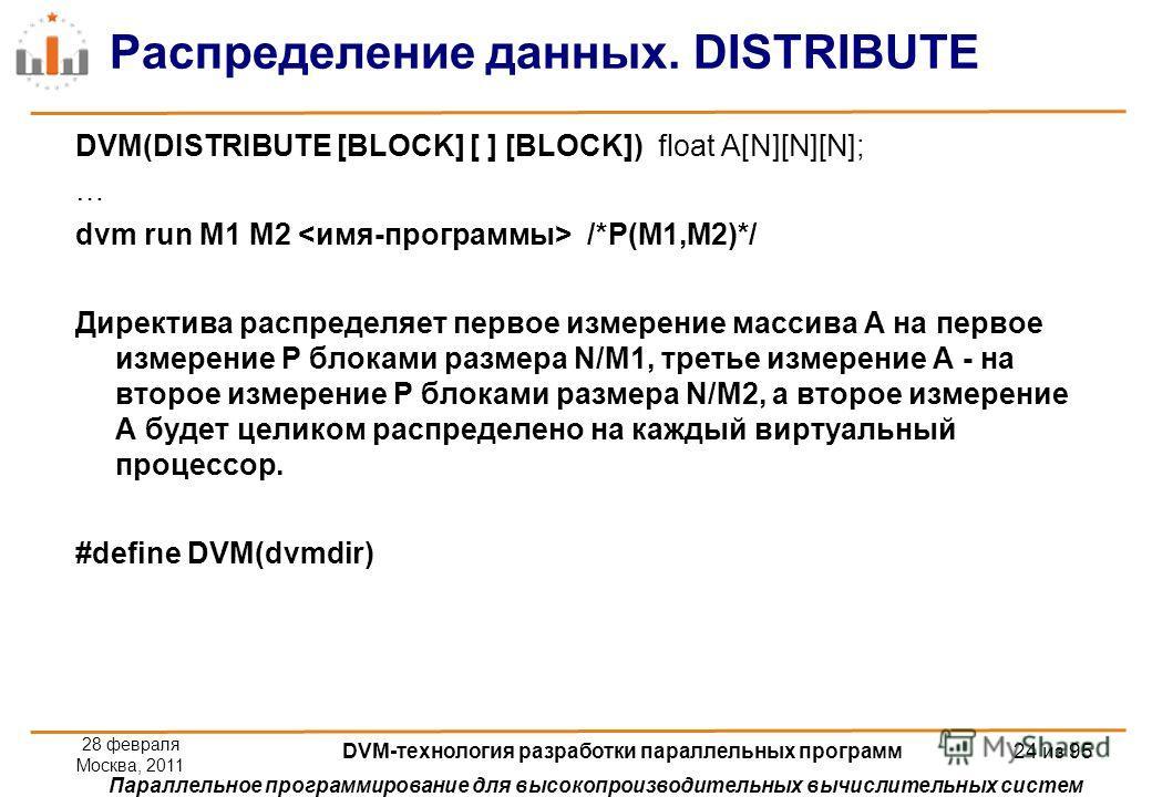 Параллельное программирование для высокопроизводительных вычислительных систем Распределение данных. DISTRIBUTE DVM(DISTRIBUTE [BLOCK] [ ] [BLOCK]) float A[N][N][N]; … dvm run M1 M2 /*P(M1,M2)*/ Директива распределяет первое измерение массива А на пе