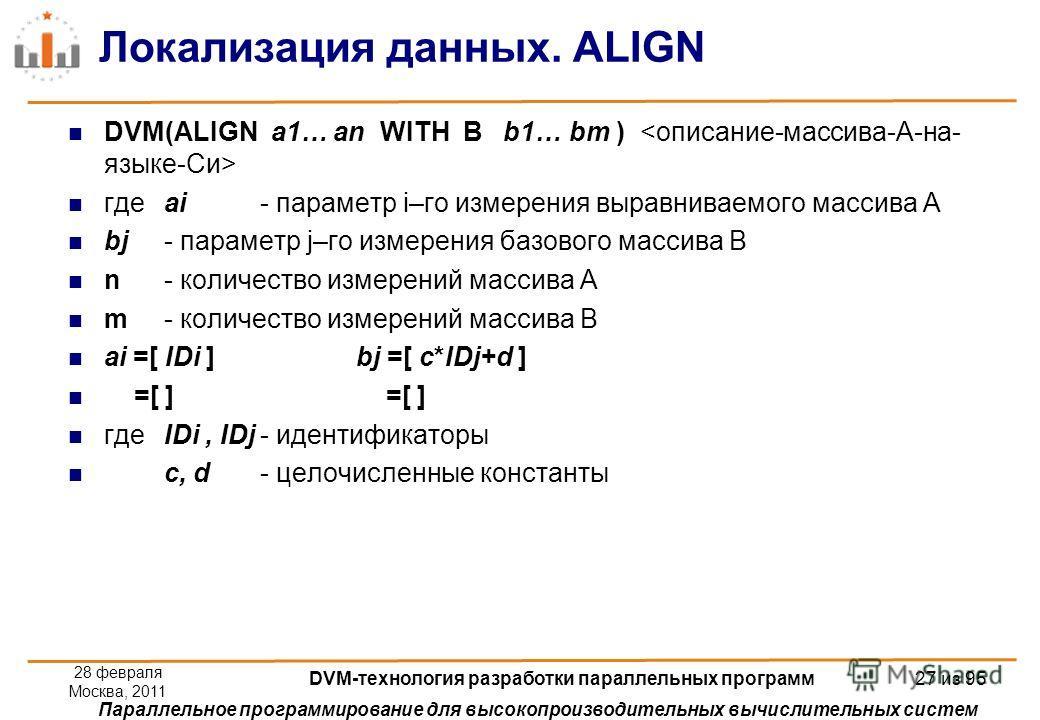 Параллельное программирование для высокопроизводительных вычислительных систем Локализация данных. ALIGN DVM(ALIGN a1… an WITH B b1… bm ) гдеai - параметр i–го измерения выравниваемого массива А bj - параметр j–го измерения базового массива B n- коли