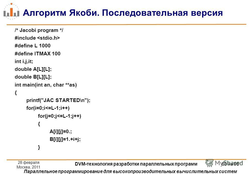 Параллельное программирование для высокопроизводительных вычислительных систем Алгоритм Якоби. Последовательная версия /* Jacobi program */ #include #define L 1000 #define ITMAX 100 int i,j,it; double A[L][L]; double B[L][L]; int main(int an, char **
