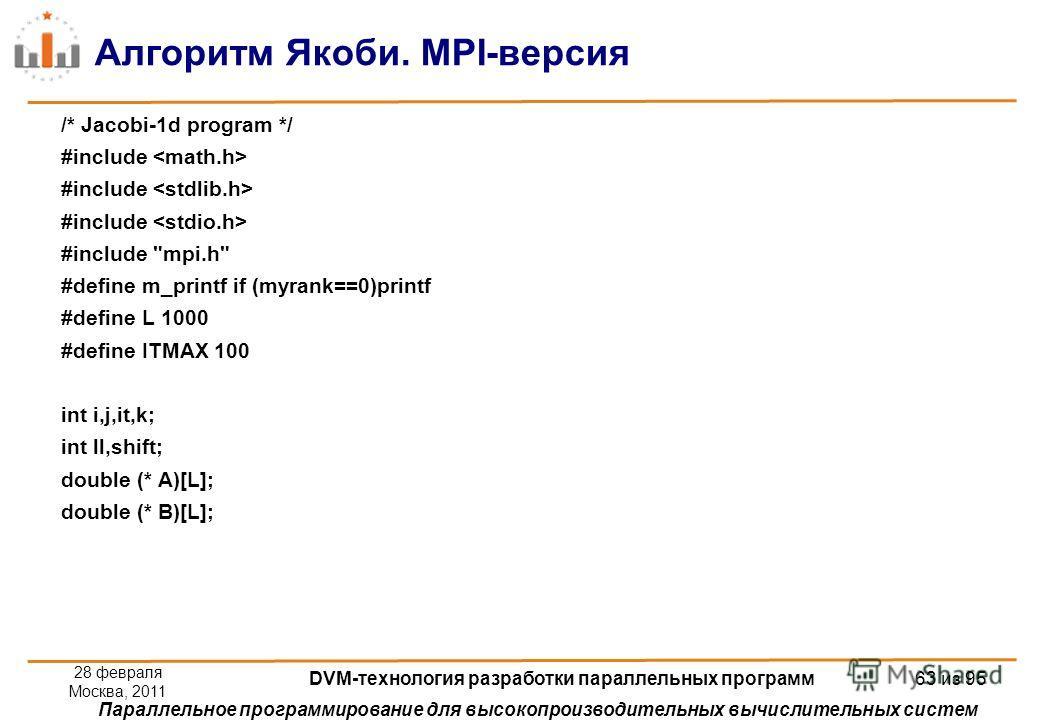 Параллельное программирование для высокопроизводительных вычислительных систем Алгоритм Якоби. MPI-версия /* Jacobi-1d program */ #include #include