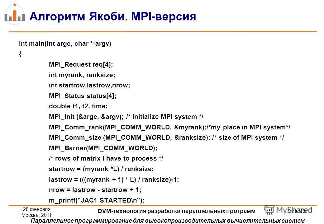 Параллельное программирование для высокопроизводительных вычислительных систем Алгоритм Якоби. MPI-версия int main(int argc, char **argv) { MPI_Request req[4]; int myrank, ranksize; int startrow,lastrow,nrow; MPI_Status status[4]; double t1, t2, time