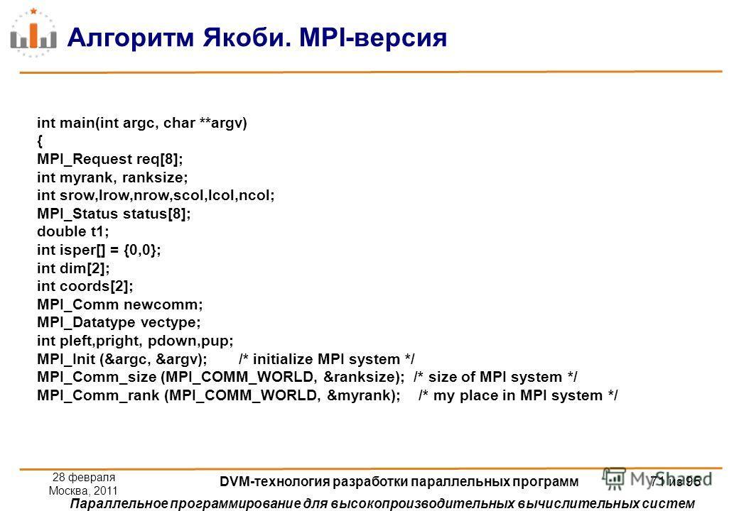 Параллельное программирование для высокопроизводительных вычислительных систем Алгоритм Якоби. MPI-версия int main(int argc, char **argv) { MPI_Request req[8]; int myrank, ranksize; int srow,lrow,nrow,scol,lcol,ncol; MPI_Status status[8]; double t1;