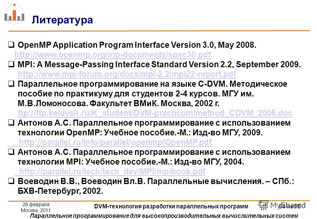 Параллельное программирование для высокопроизводительных вычислительных систем OpenMP Application Program Interface Version 3.0, May 2008. http://www.openmp.org/mp-documents/spec30.pdf MPI: A Message-Passing Interface Standard Version 2.2, September