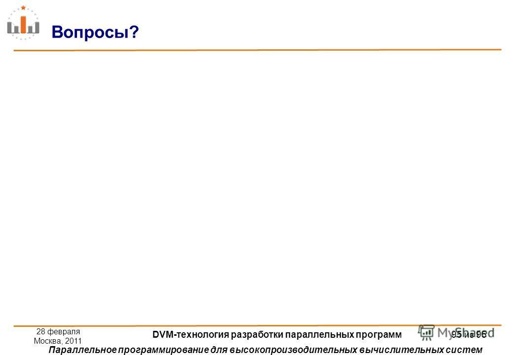 Параллельное программирование для высокопроизводительных вычислительных систем Вопросы? 28 февраля Москва, 2011 DVM-технология разработки параллельных программ 95 из 95