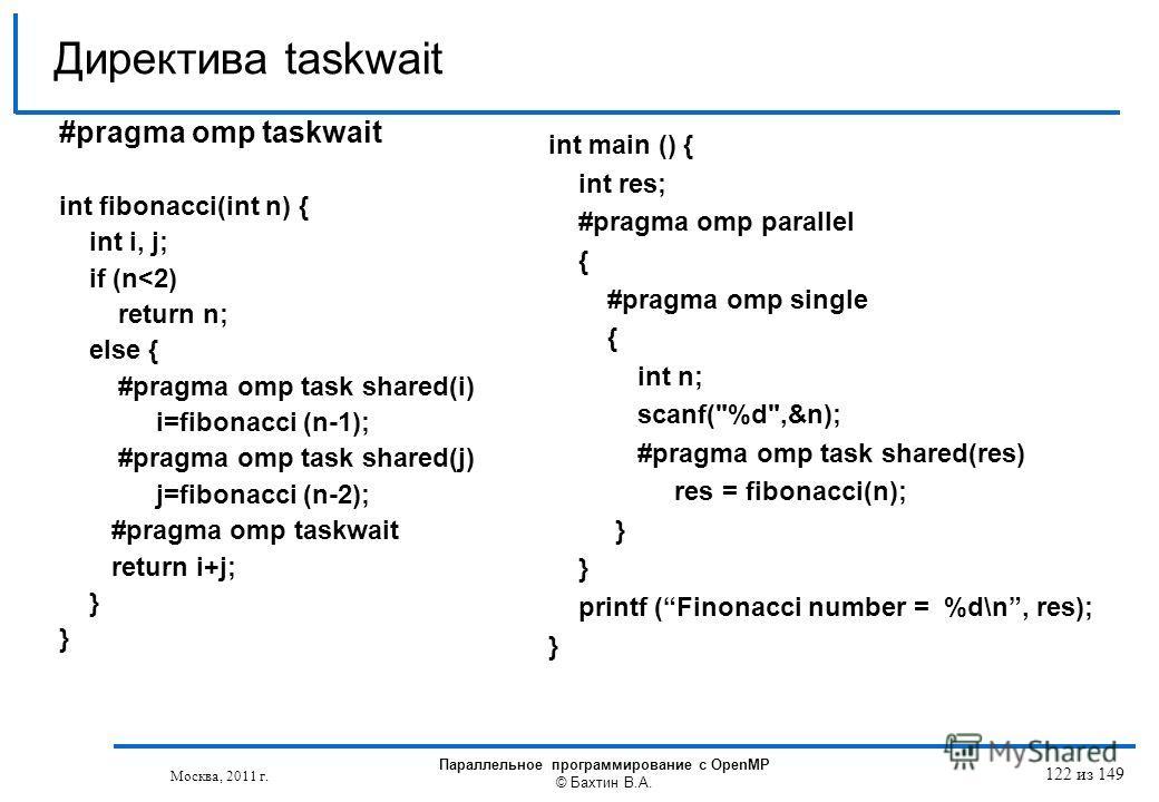 #pragma omp taskwait int fibonacci(int n) { int i, j; if (n