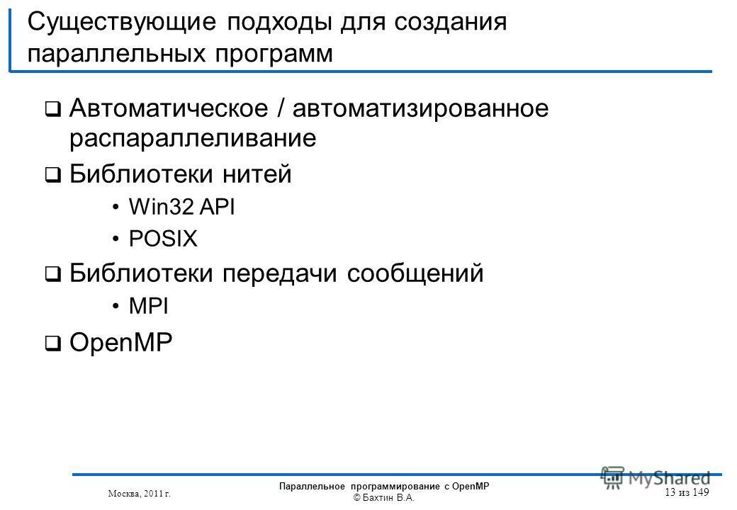 Существующие подходы для создания параллельных программ Автоматическое / автоматизированное распараллеливание Библиотеки нитей Win32 API POSIX Библиотеки передачи сообщений MPI OpenMP Москва, 2011 г. Параллельное программирование с OpenMP © Бахтин В.
