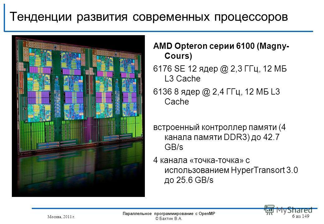 Тенденции развития современных процессоров Москва, 2011 г. Параллельное программирование с OpenMP © Бахтин В.А. 6 из 149 AMD Opteron серии 6100 (Magny- Cours) 6176 SE 12 ядер @ 2,3 ГГц, 12 МБ L3 Cache 6136 8 ядер @ 2,4 ГГц, 12 МБ L3 Cache встроенный