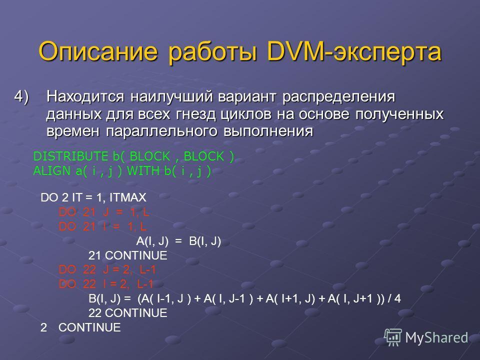 Описание работы DVM-эксперта 4) Находится наилучший вариант распределения данных для всех гнезд циклов на основе полученных времен параллельного выполнения DO 2 IT = 1, ITMAX DO 21 J = 1, L DO 21 I = 1, L A(I, J) = B(I, J) 21 CONTINUE DO 22 J = 2, L-