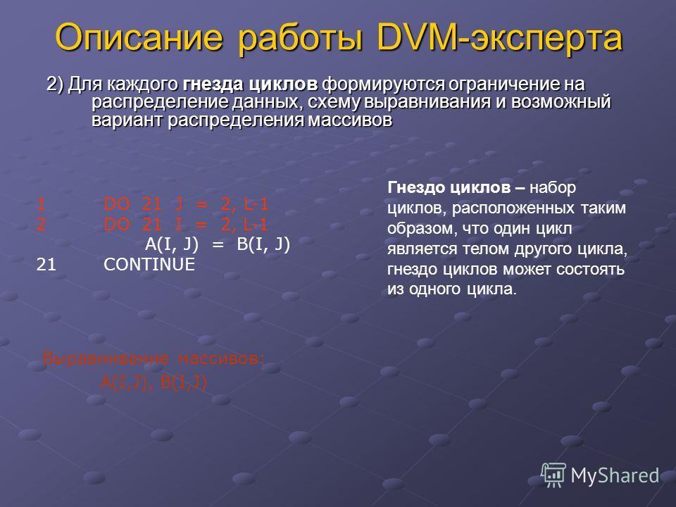 Описание работы DVM-эксперта 2) Для каждого гнезда циклов формируются ограничение на распределение данных, схему выравнивания и возможный вариант распределения массивов Выравнивание массивов: A(I,J), B(I,J) 1DO 21 J = 2, L-1 2DO 21 I = 2, L-1 A(I, J)