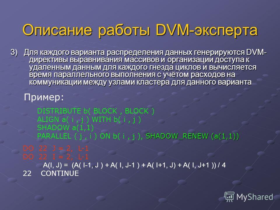 Описание работы DVM-эксперта 3) Для каждого варианта распределения данных генерируются DVM- директивы выравнивания массивов и организации доступа к удаленным данным для каждого гнезда циклов и вычисляется время параллельного выполнения с учётом расхо
