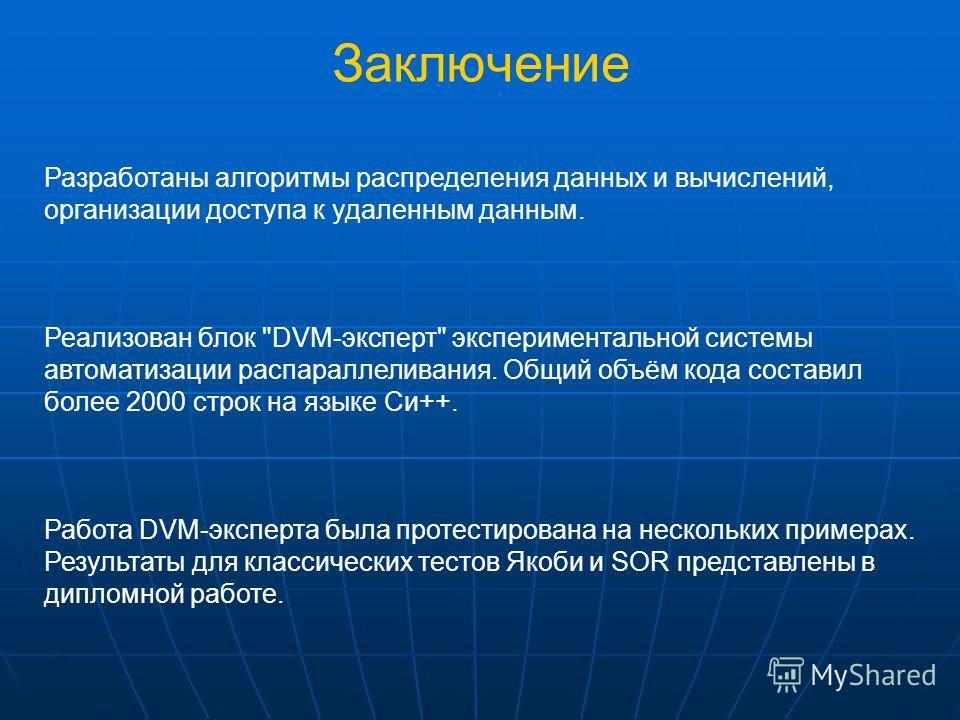 Заключение Разработаны алгоритмы распределения данных и вычислений, организации доступа к удаленным данным. Реализован блок