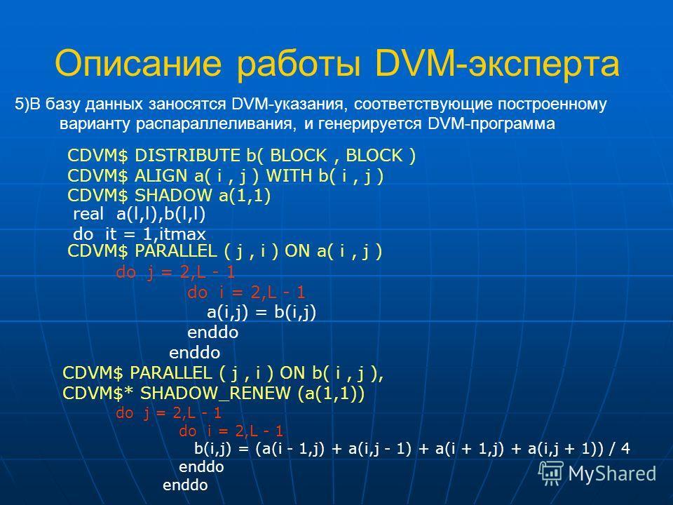 Описание работы DVM-эксперта 5)В базу данных заносятся DVM-указания, соответствующие построенному варианту распараллеливания, и генерируется DVM-программа do j = 2,L - 1 do i = 2,L - 1 b(i,j) = (a(i - 1,j) + a(i,j - 1) + a(i + 1,j) + a(i,j + 1)) / 4