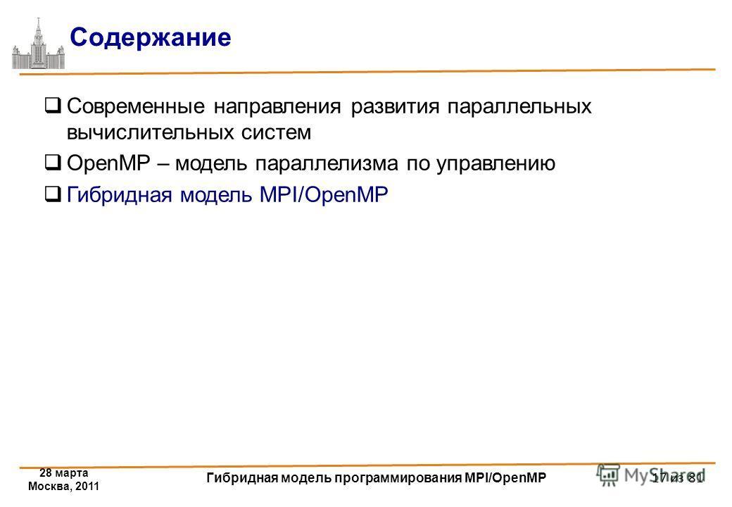 28 марта Москва, 2011 Гибридная модель программирования MPI/OpenMP 17 из 81 Содержание Современные направления развития параллельных вычислительных систем OpenMP – модель параллелизма по управлению Гибридная модель MPI/OpenMP