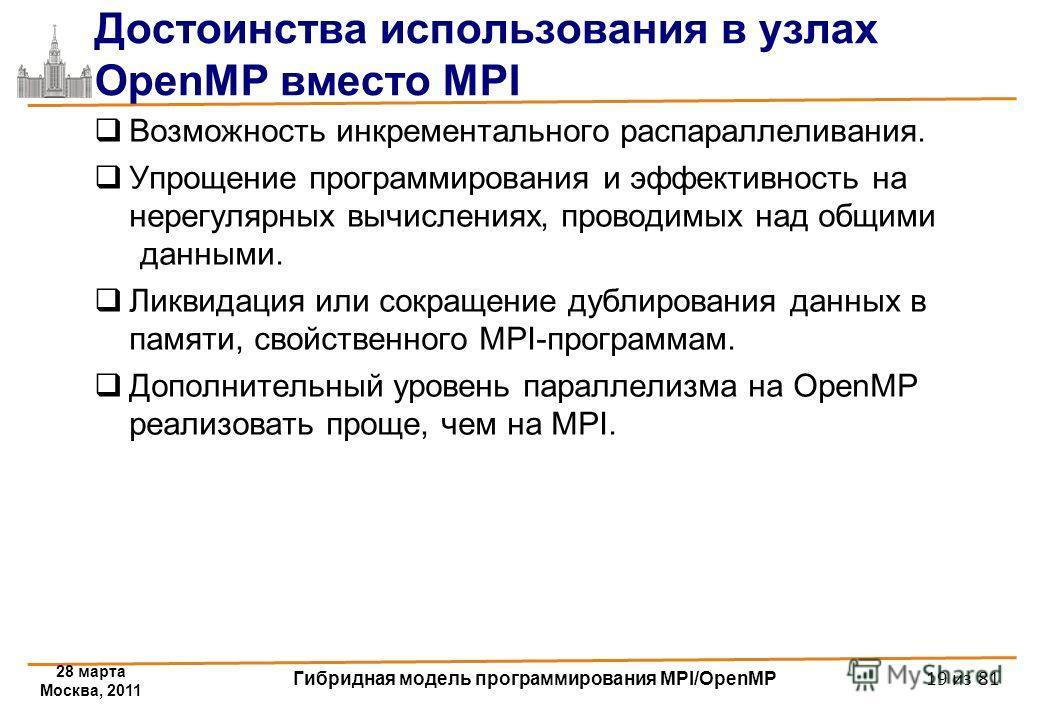 28 марта Москва, 2011 Гибридная модель программирования MPI/OpenMP 19 из 81 Достоинства использования в узлах OpenMP вместо MPI Возможность инкрементального распараллеливания. Упрощение программирования и эффективность на нерегулярных вычислениях, пр