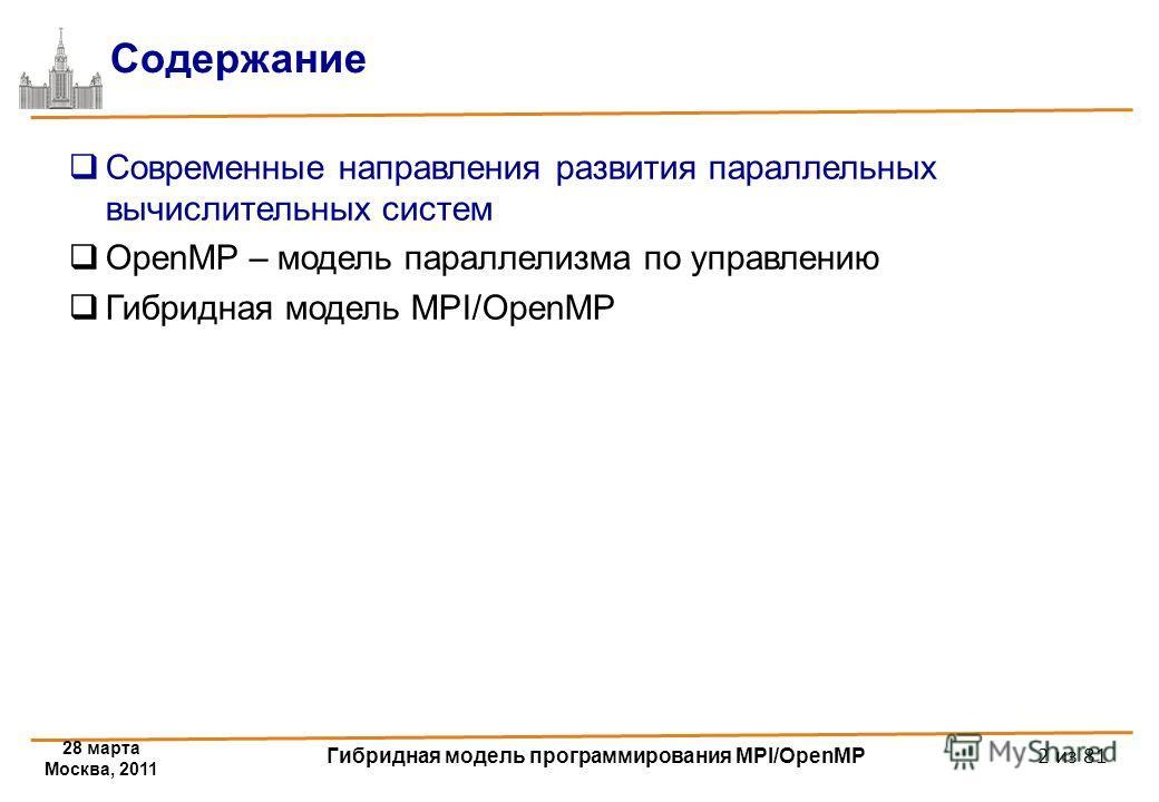 28 марта Москва, 2011 Гибридная модель программирования MPI/OpenMP 2 из 81 Содержание Современные направления развития параллельных вычислительных систем OpenMP – модель параллелизма по управлению Гибридная модель MPI/OpenMP