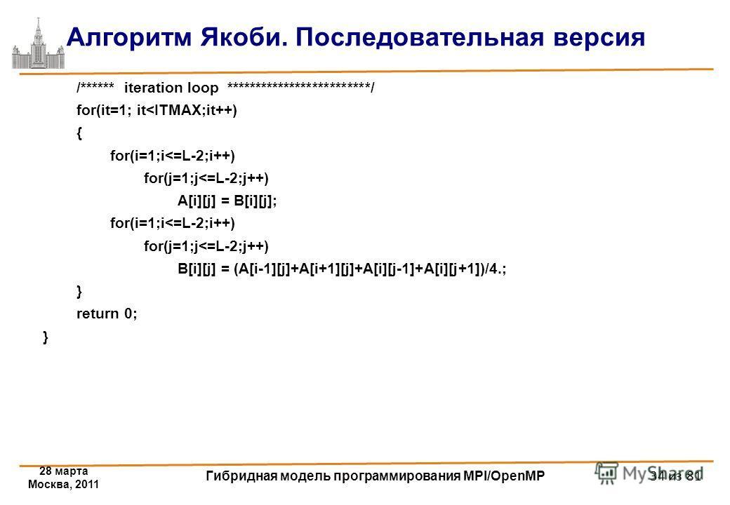 28 марта Москва, 2011 Гибридная модель программирования MPI/OpenMP 34 из 81 Алгоритм Якоби. Последовательная версия /****** iteration loop *************************/ for(it=1; it
