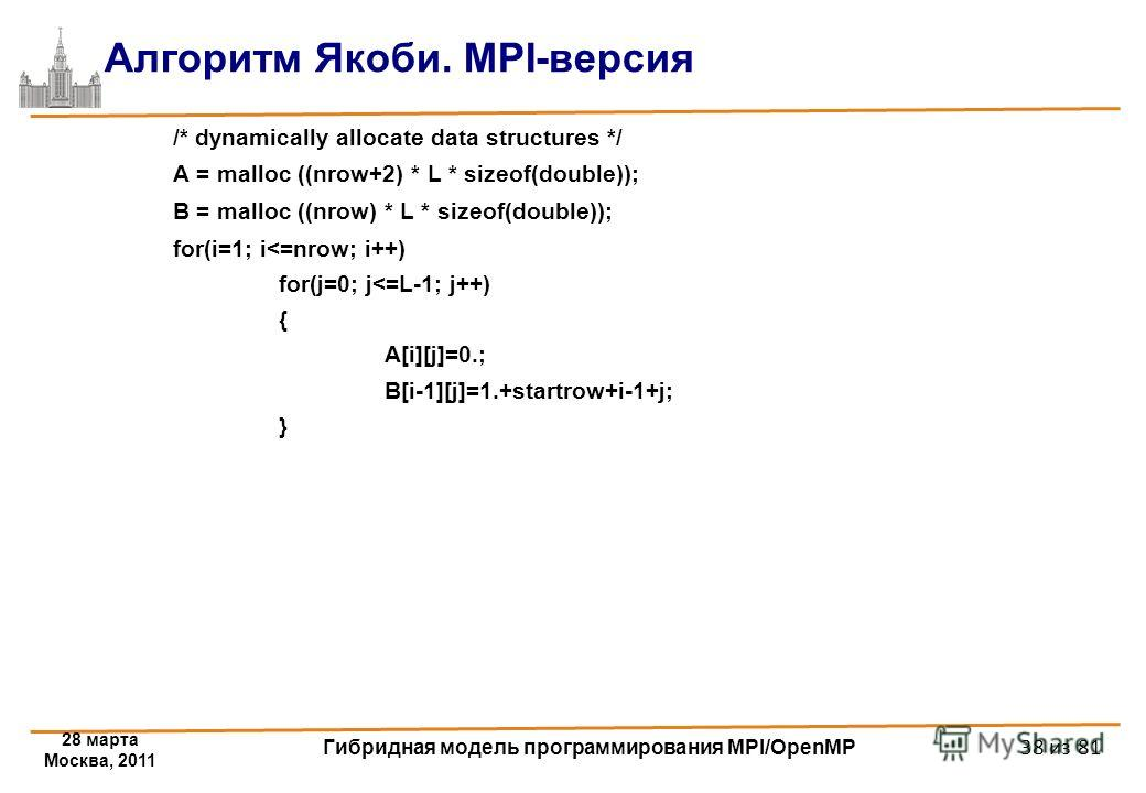 28 марта Москва, 2011 Гибридная модель программирования MPI/OpenMP 38 из 81 Алгоритм Якоби. MPI-версия /* dynamically allocate data structures */ A = malloc ((nrow+2) * L * sizeof(double)); B = malloc ((nrow) * L * sizeof(double)); for(i=1; i