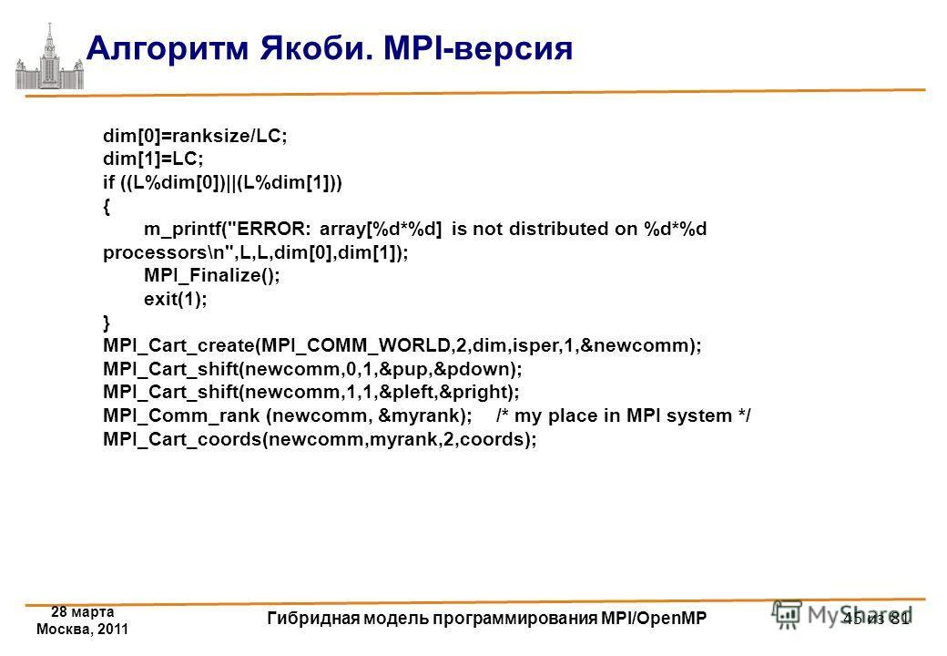 28 марта Москва, 2011 Гибридная модель программирования MPI/OpenMP 45 из 81 Алгоритм Якоби. MPI-версия dim[0]=ranksize/LC; dim[1]=LC; if ((L%dim[0])||(L%dim[1])) { m_printf(