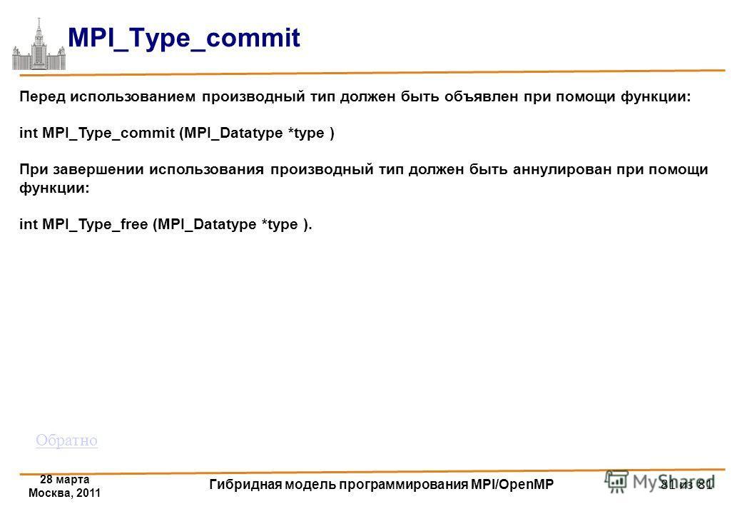 28 марта Москва, 2011 Гибридная модель программирования MPI/OpenMP 81 из 81 MPI_Type_commit Перед использованием производный тип должен быть объявлен при помощи функции: int MPI_Type_commit (MPI_Datatype *type ) При завершении использования производн