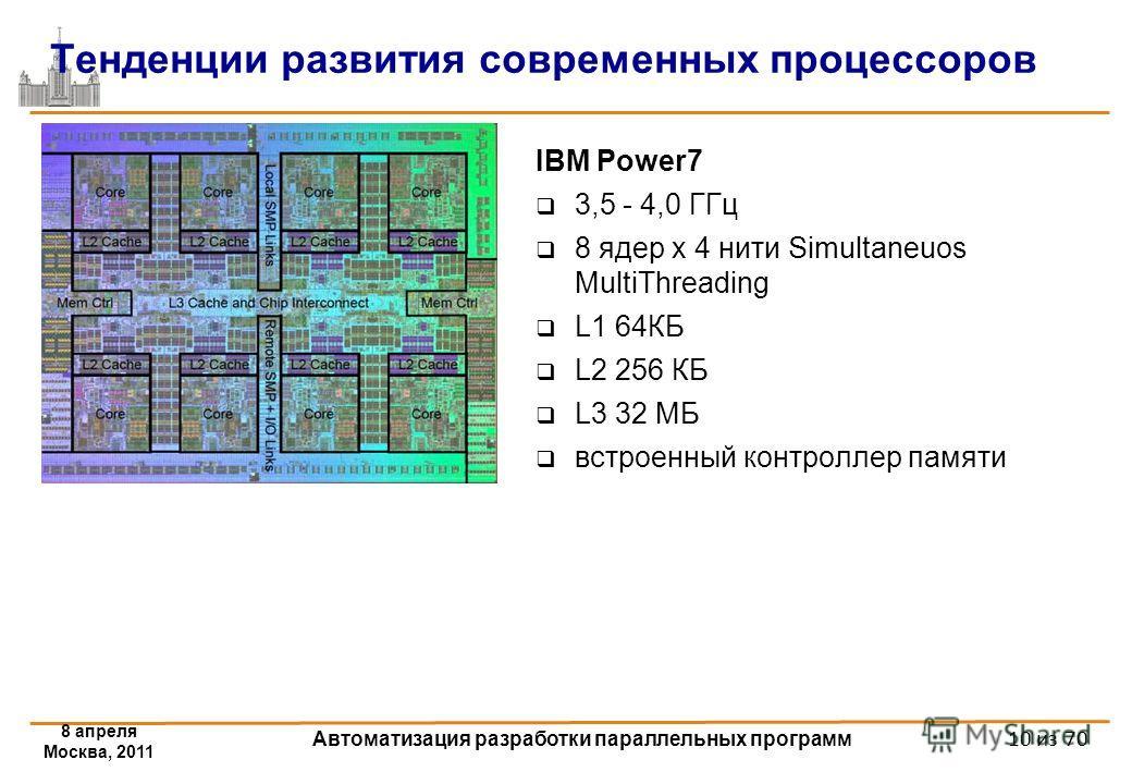 IBM Power7 3,5 - 4,0 ГГц 8 ядер x 4 нити Simultaneuos MultiThreading L1 64КБ L2 256 КБ L3 32 МБ встроенный контроллер памяти Тенденции развития современных процессоров 8 апреля Москва, 2011 Автоматизация разработки параллельных программ 10 из 70