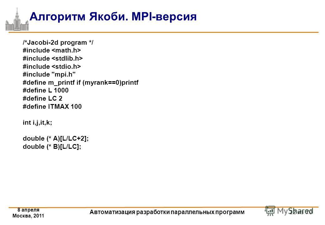 8 апреля Москва, 2011 Автоматизация разработки параллельных программ 22 из 70 Алгоритм Якоби. MPI-версия /*Jacobi-2d program */ #include #include