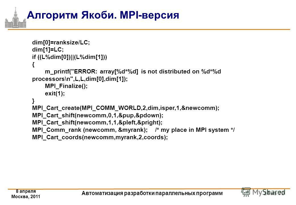 8 апреля Москва, 2011 Автоматизация разработки параллельных программ 24 из 70 Алгоритм Якоби. MPI-версия dim[0]=ranksize/LC; dim[1]=LC; if ((L%dim[0])||(L%dim[1])) { m_printf(