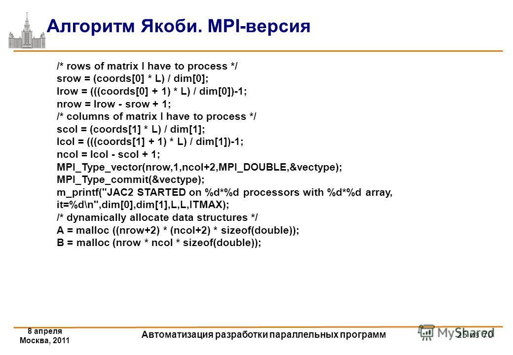 8 апреля Москва, 2011 Автоматизация разработки параллельных программ 25 из 70 Алгоритм Якоби. MPI-версия /* rows of matrix I have to process */ srow = (coords[0] * L) / dim[0]; lrow = (((coords[0] + 1) * L) / dim[0])-1; nrow = lrow - srow + 1; /* col