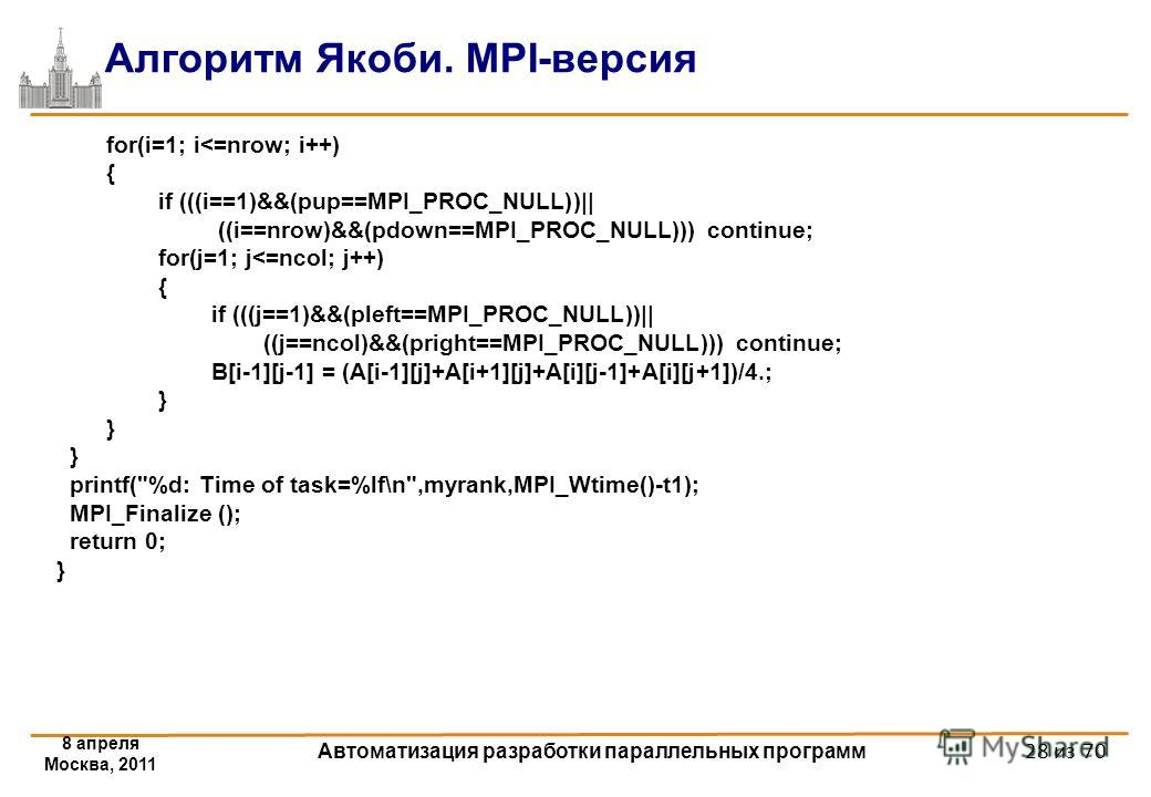 8 апреля Москва, 2011 Автоматизация разработки параллельных программ 28 из 70 Алгоритм Якоби. MPI-версия for(i=1; i