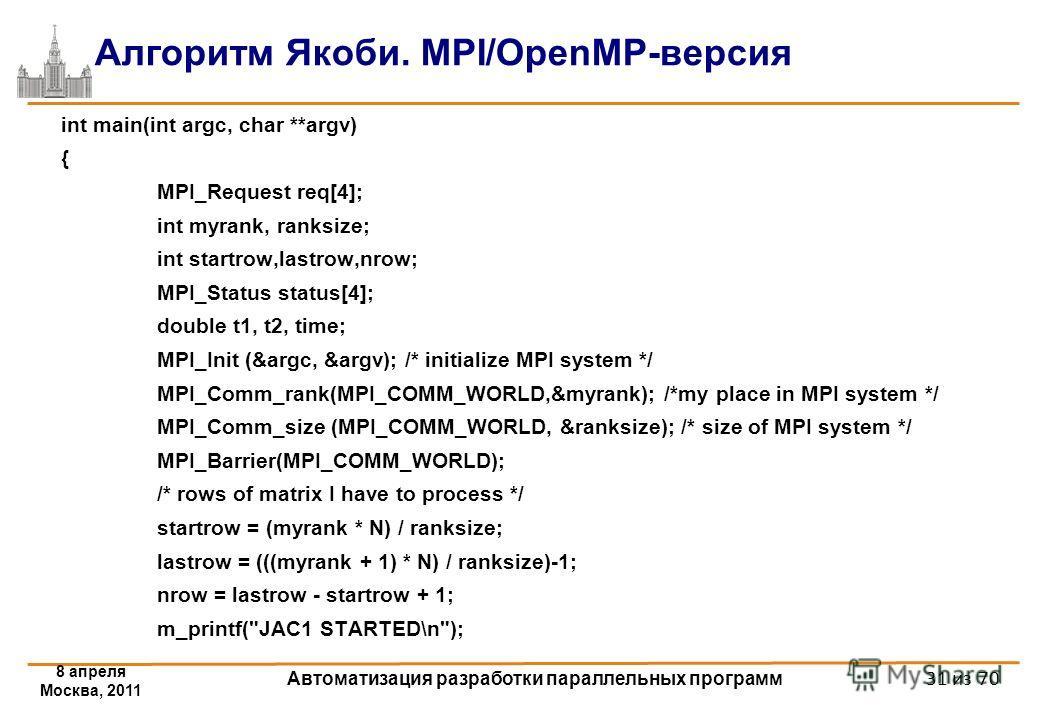 8 апреля Москва, 2011 Автоматизация разработки параллельных программ 31 из 70 Алгоритм Якоби. MPI/OpenMP-версия int main(int argc, char **argv) { MPI_Request req[4]; int myrank, ranksize; int startrow,lastrow,nrow; MPI_Status status[4]; double t1, t2