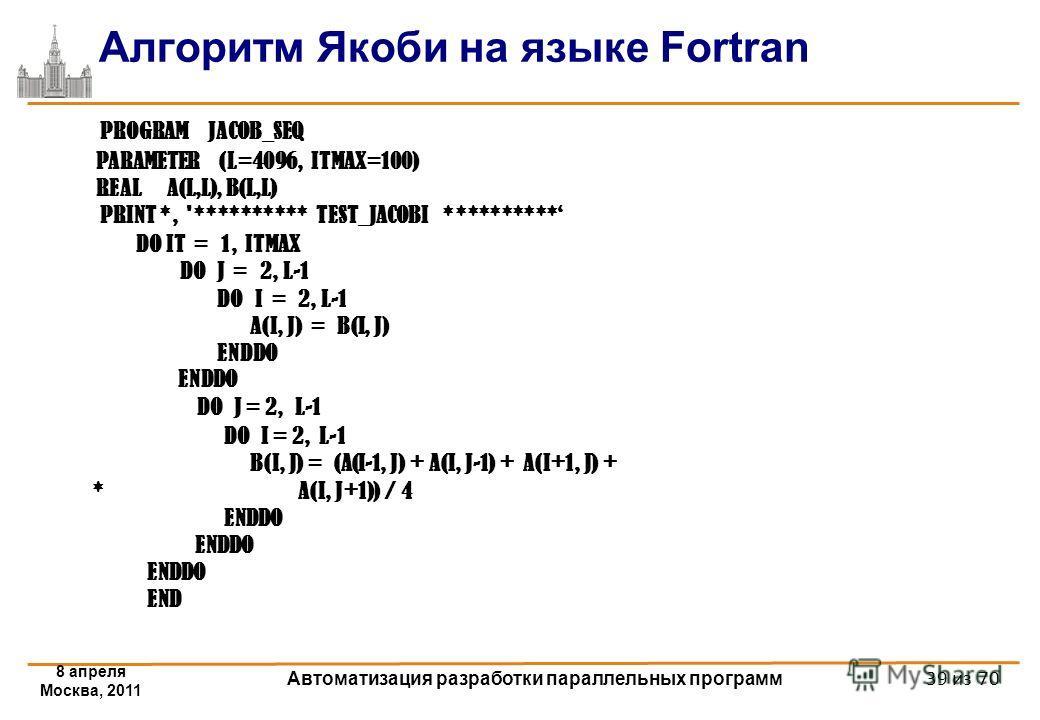 Алгоритм Якоби на языке Fortran 8 апреля Москва, 2011 Автоматизация разработки параллельных программ 39 из 70 PROGRAM JACOB_SEQ PARAMETER (L=4096, ITMAX=100) REAL A(L,L), B(L,L) PRINT *, '********** TEST_JACOBI ********** DO IT = 1, ITMAX DO J = 2, L