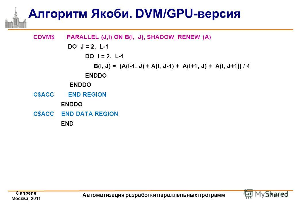 Алгоритм Якоби. DVM/GPU-версия CDVM$ PARALLEL (J,I) ON B(I, J), SHADOW_RENEW (A) DO J = 2, L-1 DO I = 2, L-1 B(I, J) = (A(I-1, J) + A(I, J-1) + A(I+1, J) + A(I, J+1)) / 4 ENDDO C$ACC END REGION ENDDO C$ACC END DATA REGION END 8 апреля Москва, 2011 Ав