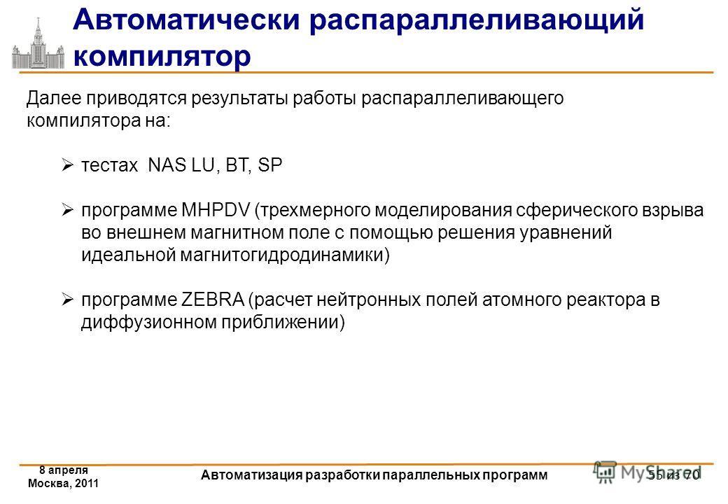 Автоматически распараллеливающий компилятор 8 апреля Москва, 2011 Автоматизация разработки параллельных программ Далее приводятся результаты работы распараллеливающего компилятора на: тестах NAS LU, BT, SP программе MHPDV (трехмерного моделирования с
