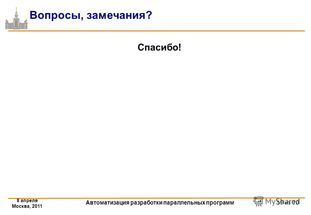 8 апреля Москва, 2011 Автоматизация разработки параллельных программ 59 из 70 Вопросы, замечания? Спасибо!