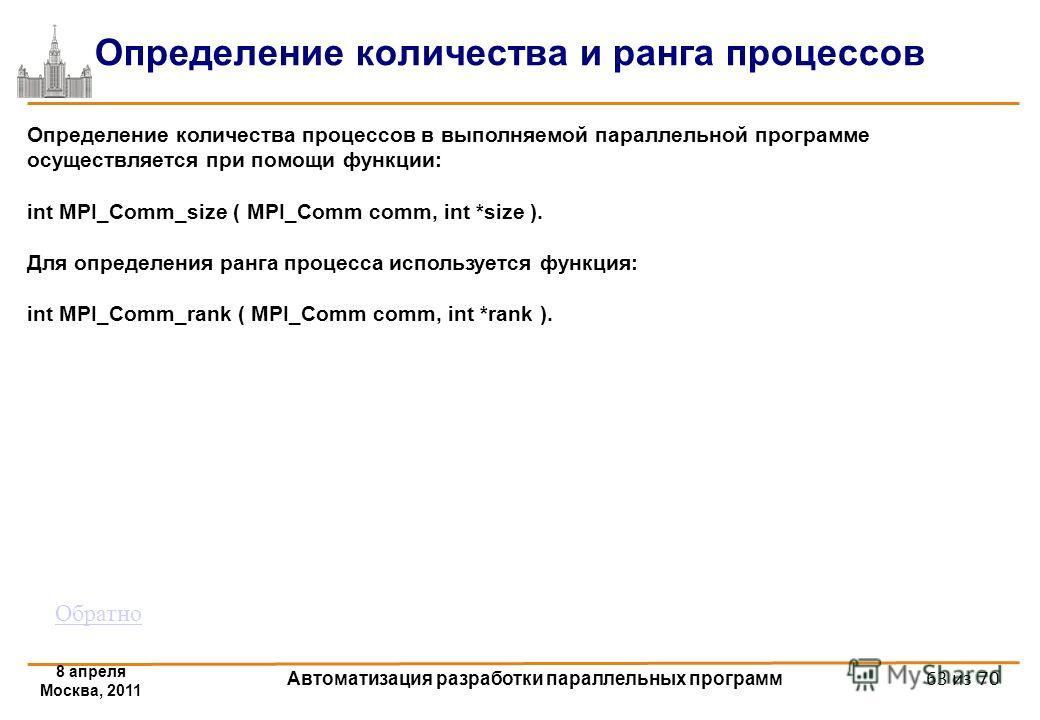 8 апреля Москва, 2011 Автоматизация разработки параллельных программ 63 из 70 Определение количества и ранга процессов Определение количества процессов в выполняемой параллельной программе осуществляется при помощи функции: int MPI_Comm_size ( MPI_Co