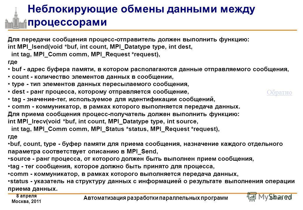 8 апреля Москва, 2011 Автоматизация разработки параллельных программ 64 из 70 Неблокирующие обмены данными между процессорами Для передачи сообщения процесс-отправитель должен выполнить функцию: int MPI_Isend(void *buf, int count, MPI_Datatype type,