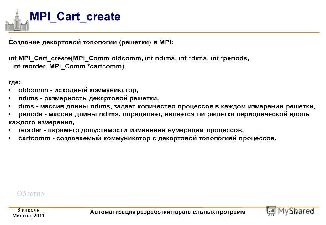 8 апреля Москва, 2011 Автоматизация разработки параллельных программ 66 из 70 MPI_Cart_create Создание декартовой топологии (решетки) в MPI: int MPI_Cart_create(MPI_Comm oldcomm, int ndims, int *dims, int *periods, int reorder, MPI_Comm *cartcomm), г