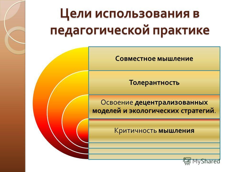 Цели использования в педагогической практике Совместное мышление Толерантность Освоение децентрализованных моделей и экологических стратегий. Критичность мышления