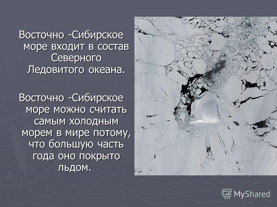 Восточно -Сибирское море входит в состав Северного Ледовитого океана. Восточно -Сибирское море можно считать самым холодным морем в мире потому, что большую часть года оно покрыто льдом. Восточно -Сибирское море можно считать самым холодным морем в м