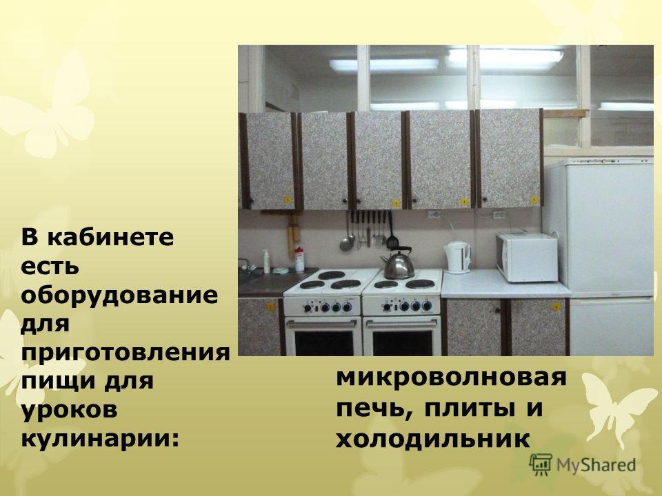 В кабинете есть оборудование для приготовления пищи для уроков кулинарии: микроволновая печь, плиты и холодильник