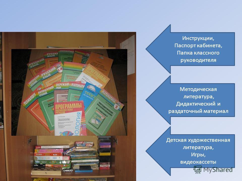 Инструкции, Паспорт кабинета, Папка классного руководителя Методическая литература, Дидактический и раздаточный материал Детская художественная литература, Игры, видеокассеты