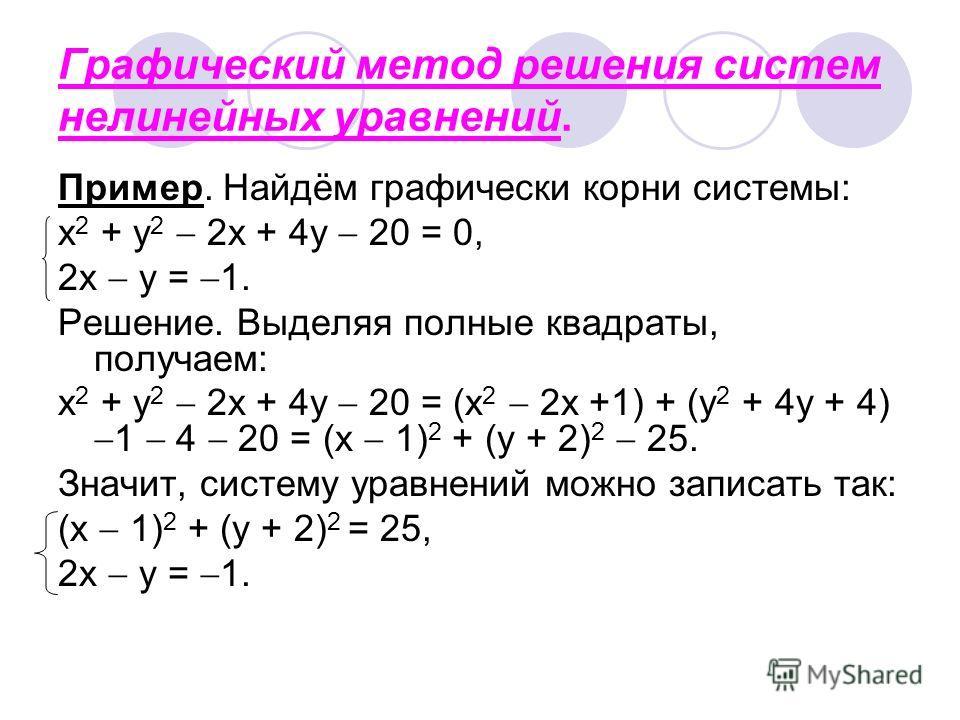 Графический метод решения систем нелинейных уравнений. Пример. Найдём графически корни системы: x 2 + y 2 2x + 4y 20 = 0, 2x y = 1. Решение. Выделяя полные квадраты, получаем: x 2 + y 2 2x + 4y 20 = (x 2 2x +1) + (y 2 + 4y + 4) 1 4 20 = (x 1) 2 + (y