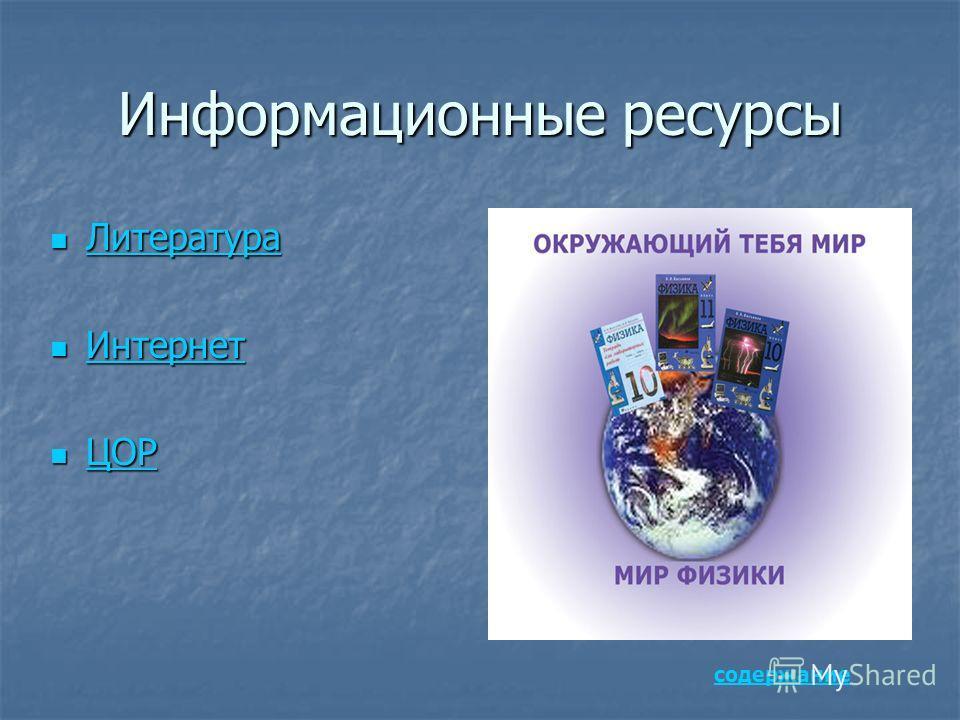 Информационные ресурсы Литература Литература Литература Интернет Интернет Интернет ЦОР ЦОР ЦОР содержание