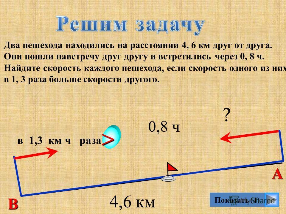 Показать (4) Два пешехода находились на расстоянии 4, 6 км друг от друга. Они пошли навстречу друг другу и встретились через 0, 8 ч. Найдите скорость каждого пешехода, если скорость одного из них в 1, 3 раза больше скорости другого. В А в 1,3 км ч ра