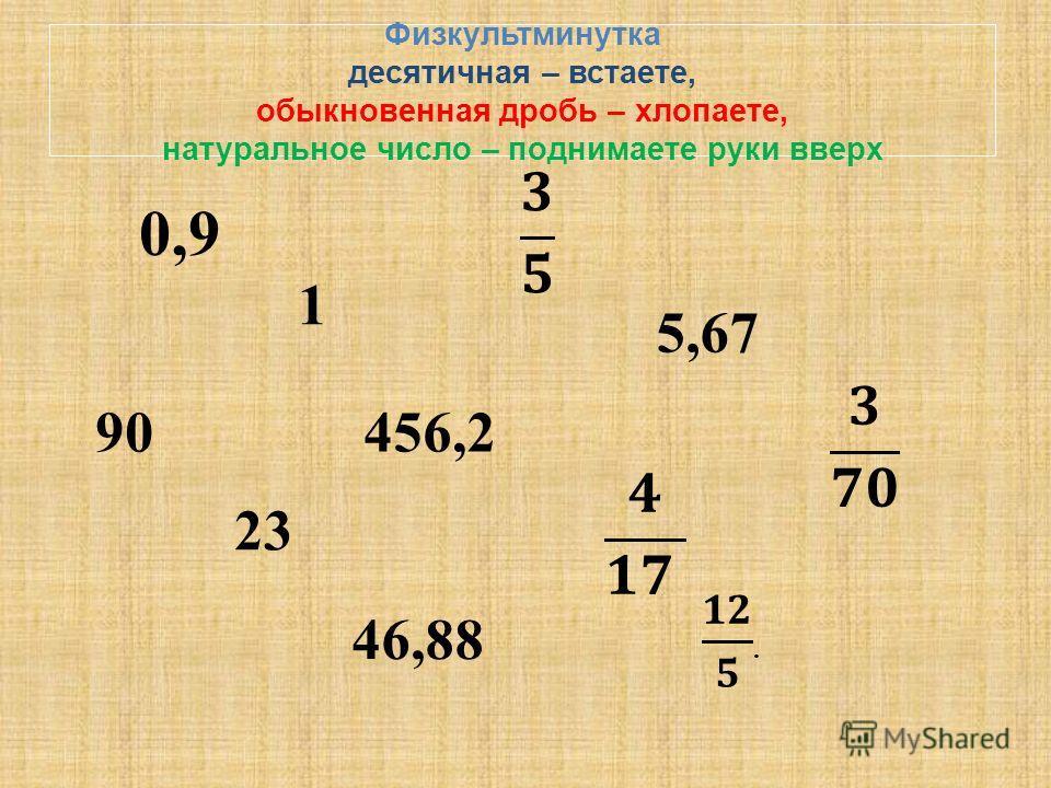 Физкультминутка десятичная – встаете, обыкновенная дробь – хлопаете, натуральное число – поднимаете руки вверх 0,9 1 5,67 90 456,2 23 46,88
