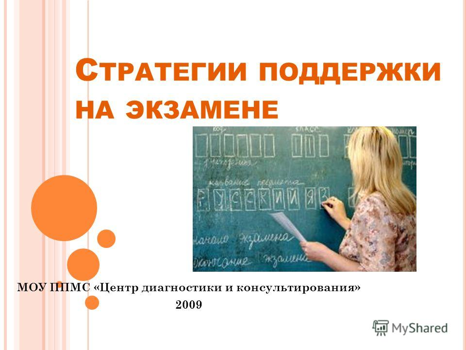 С ТРАТЕГИИ ПОДДЕРЖКИ НА ЭКЗАМЕНЕ МОУ ППМС «Центр диагностики и консультирования» 2009
