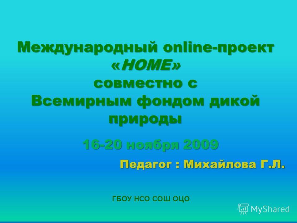 Международный online-проект «HOME» совместно с Всемирным фондом дикой природы 16-20 ноября 2009 Педагог : Михайлова Г.Л. ГБОУ НСО СОШ ОЦО