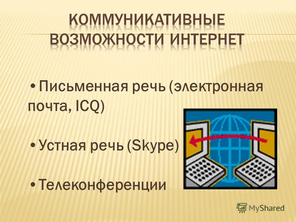 Письменная речь (электронная почта, ICQ) Устная речь (Skype) Телеконференции