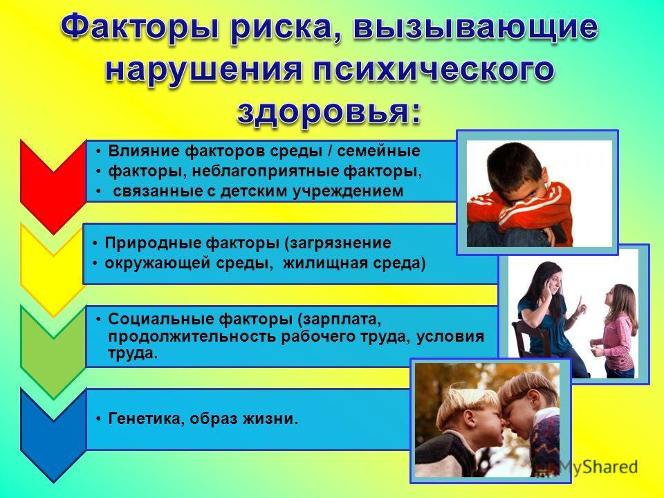 Влияние факторов среды / семейные факторы, неблагоприятные факторы, связанные с детским учреждением Природные факторы (загрязнение окружающей среды, жилищная среда) Социальные факторы (зарплата, продолжительность рабочего труда, условия труда. Генети