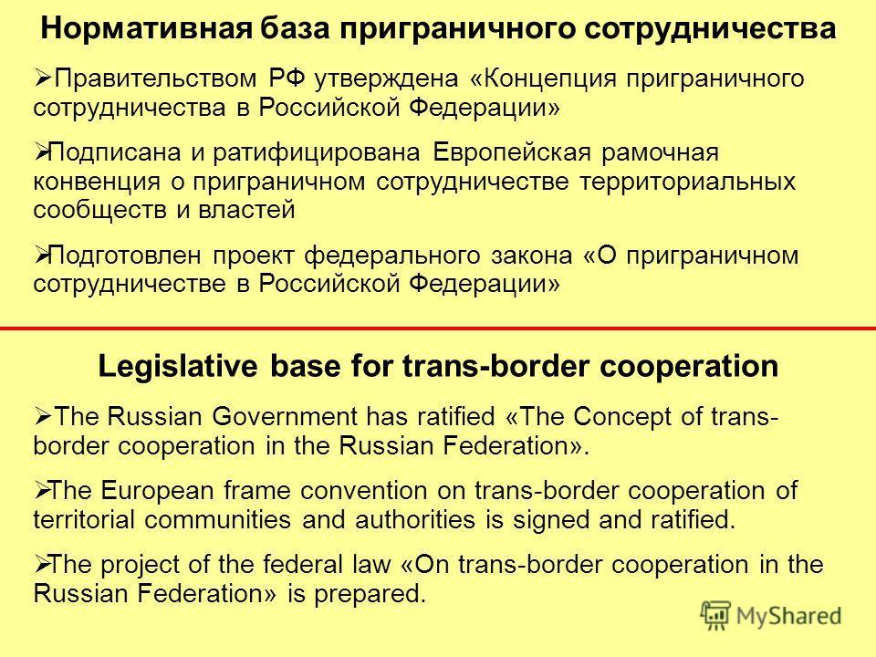 Нормативная база приграничного сотрудничества Правительством РФ утверждена «Концепция приграничного сотрудничества в Российской Федерации» Подписана и ратифицирована Европейская рамочная конвенция о приграничном сотрудничестве территориальных сообщес