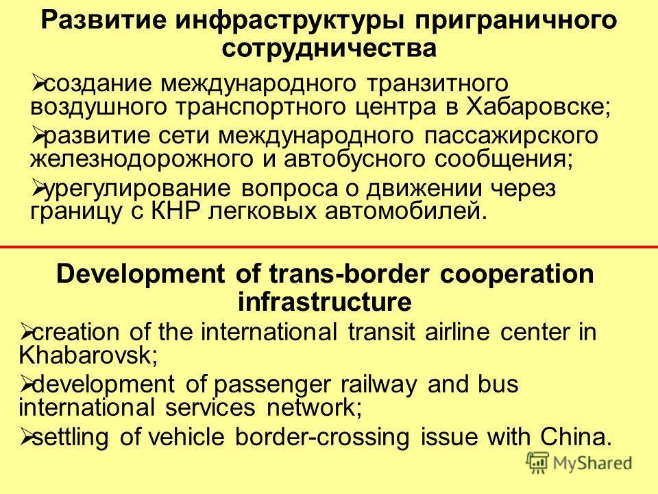Development of trans-border cooperation infrastructure Развитие инфраструктуры приграничного сотрудничества создание международного транзитного воздушного транспортного центра в Хабаровске; развитие сети международного пассажирского железнодорожного